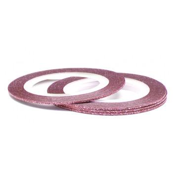 №167 розовая с блестками, 1 мм